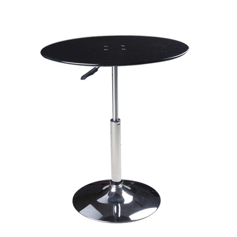 height adjustable round glass top bedside table
