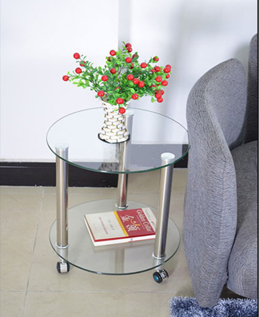 small round glass end table