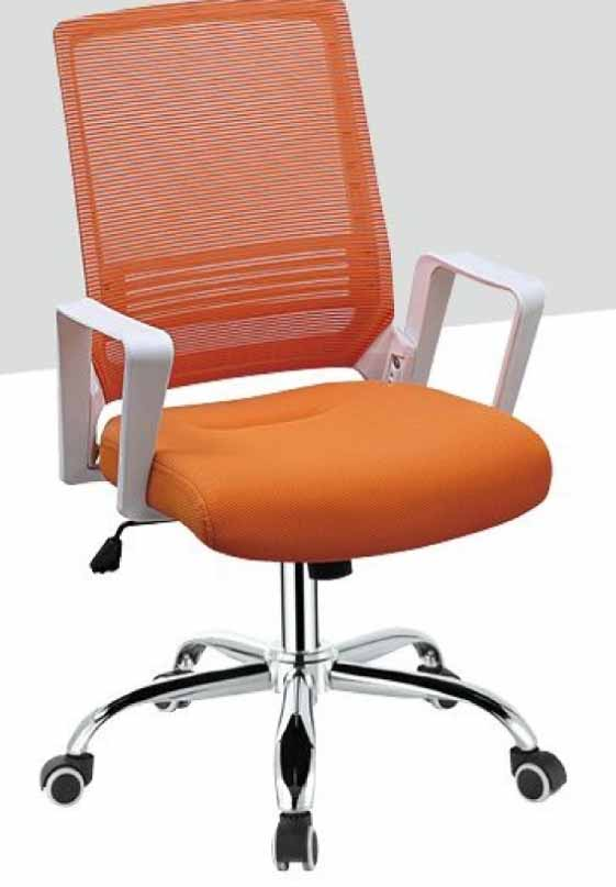 mesh chick orange office chair white armrest