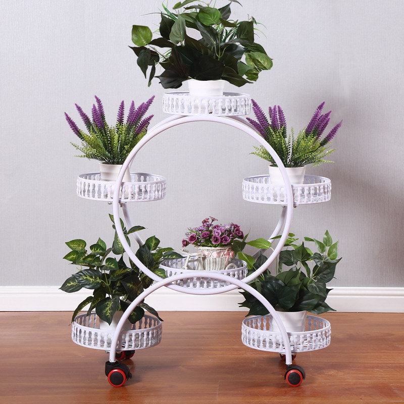 round metal plant stand 5 tier with wheels