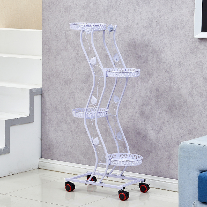 multiple tiers metal plant stand with wheels