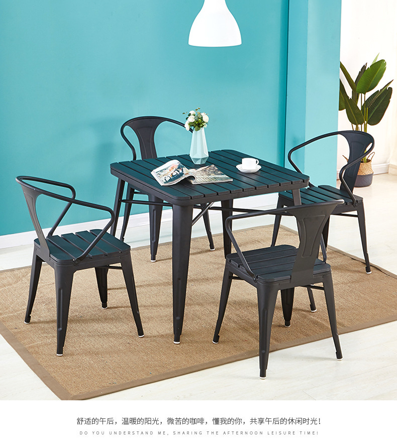 black balcony bistro table set plus stackable patio chairs