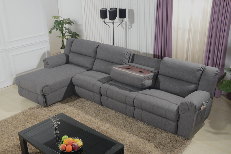 multi-function power reclining sofa with coffee table and electric chaise